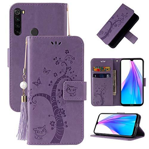 Miagon Brieftasche Flip Hülle für Xiaomi Redmi Note 8,Schön Schmetterling Baum Katze Design PU Leder Buch Stil Stand Funktion Handyhülle Case Cover,Lila