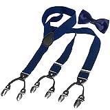 HBF 1 Conjunto Tirantes Y Pajaritas Unisex Elástica Ajustable Y-Forma 4 Clips/6clips Ancho 3.5 Cm Para Hombre Y Mujer (azul marino + pajarita negro)