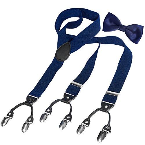 HBF Hosenträger mit den 6 starken Clips und Fliege KIT mehrfarbig elastisch Y-formoig Länge für Damen und Herren Playshoes in verschiedenen Designs (Dunkel blau + schwarz)