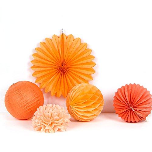 Sunbeauty abrikoos papieren decoratie, lampion/honingraatball/pompons, 5-delige set decoratie