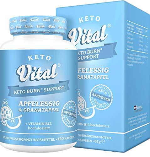 Keto Vital Keto Burn Support Fatburner, schnell Abnehmen + Diät-Booster, vegan mit Apfelessig und Granatapfel während ketogener Diät, Keto Expert approved Formula, 120 Kapseln im 2 Monatsvorrat