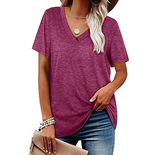 Camisa Mujer Talla Grande Suelta Cómoda Dulce Sexy con Cuello En V Manga Corta Verano Vacaciones Moda Casual Color Sólido Clásico Mujer Blusa J-Purple M