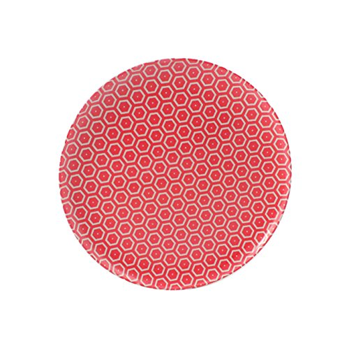 Cartaffini - Assiette plate miel, rouge - en mélamine avec décor en véritable tissu (beiges), Ø 24 cm - Couleur : blanc ivoire
