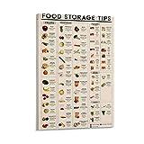 AMZSM Póster retro de Lpj vegano para almacenamiento de alimentos, póster decorativo de lienzo para pared o sala de estar, 60 x 90 cm