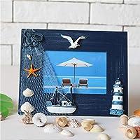地中海のホームアクセサリー、クリエイティブな無垢材の工芸品、フォトフレーム、5インチのフレーム設定テーブルダークブルー水平