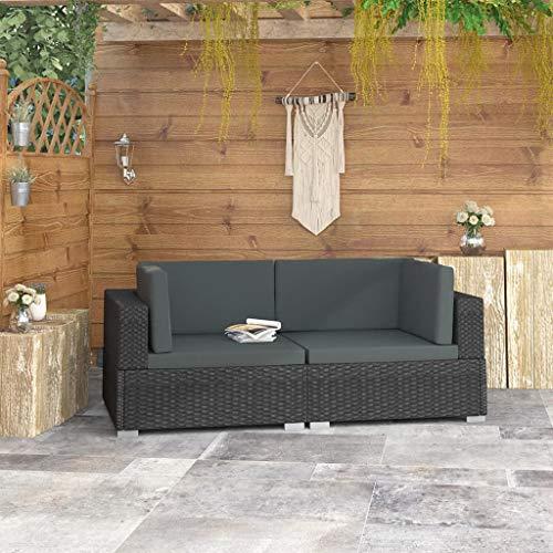 Festnight Ecksofas 2 STK. mit Auflagen Poly Rattan Schwarz Gartenmöbel Lounge Möbel Sofa Bank Sessel 2er-Sofa Sitzgruppe Gartensofa 70 x 70 x 54 cm