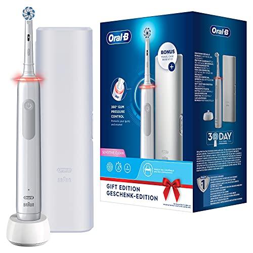 Oral-B Pro3 3500 Elektrische Zahnbürste/Electric Toothbrush mit visueller 360° Andruckkontrolle für extra Zahnfleischschutz, 3 Putzmodi inkl. Sensitiv, Timer, Reise-Etui, weiß
