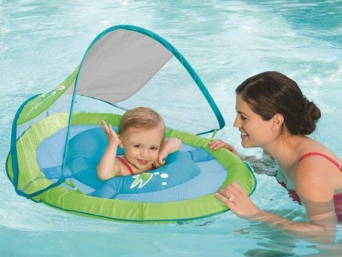 SwimWays Baby Spring Float Sun Canopy - Green Fish - Best Baby Pool Float