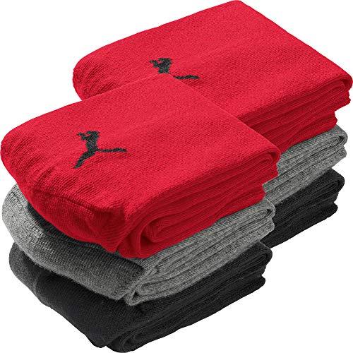 PUMA Socks Unisex Sneaker-Socken 6er-Pack rot, schwarz, grau Größe 43-46