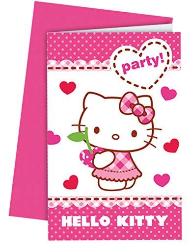 Generique - Hello Kitty Einladungskarten mit Umschlägen