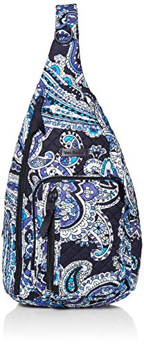 Vera Bradley Women's Signature Cotton Sling Backpack, Deep Night Paisley, One Size