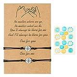 Pantide Lot de 2 bracelets de promesse roses réglables à distance pour les meilleurs amis, couple, famille, sœurs, amitié, cadeau d'anniversaire pour petite amie, petit ami, adolescent, filles, femmes, hommes, PT-Couple Bracelets