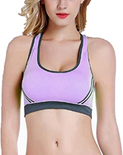 ZYDP 3 Pack, Women's Seamless Sports Bra High Impact Full Support Racerback Workout Gym Activewear Bra (Color : 3PackB, Si...
