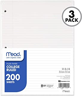 """Mead Loose Leaf Paper, College Ruled, 200 Sheets, 10-1/2"""" x 8"""", 3 Hole Punched for 3 Ring Binder, Writing & Office Paper, Perfect for College, K-12 or Homeschool, 3 Pack (73185)"""