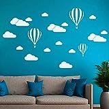 GVC CVG New White Clouds Mongolfiera Adesivo murale per camerette Sfondo Artistico Adesivi murali Decorazioni per la casa Soggiorno Adesivi murali
