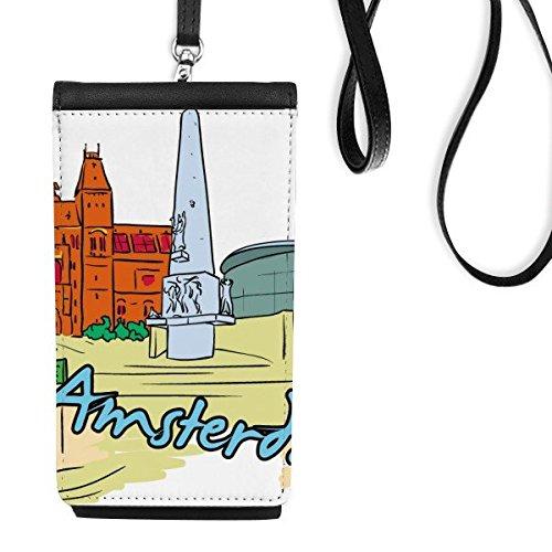 DIYthinker Pays-Bas armsterdam Canal Van Gogh Aquarelle Faux Cuir Smartphone Sac à Main Suspendu téléphone Noir Porte-Monnaie Multicolore