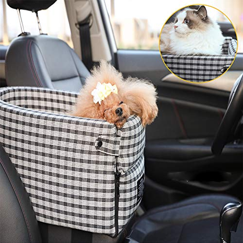 CHANLAU Small Dog Cat Booster Seat ON Car Armrest Perfect for Small Pets | Included Safety Tethers Included | Suitable for Most Car Deluxe Deluxe Interactive Pet Seat(Single Door armrest)