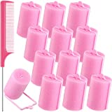 12 Pieces Foam Sponge Hair Rollers, 1.57 inch/ 4.0 cm Soft Sleeping Hair Curler Flexible Hair Styling Sponge Curler and Stainless Steel Rat Tail Comb Pintail Comb for Hair Styling, Pink