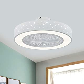 "KWOKING Lighting Modern Circular Ceiling Fans with Lights 21.5"" Wide LED Flush Mount Ceiling Light with Remote Control 3 B..."
