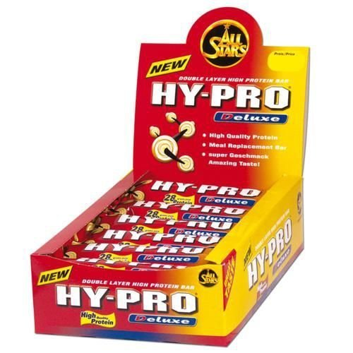 All Stars Hy Pro Deluxe Bar Chocolate Nut-Crunch Double Layer High Protein Bar 100g Pack of 24 by ALL STARS