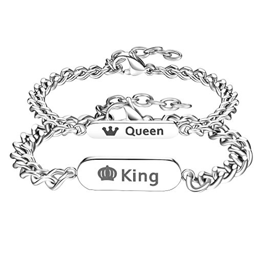 Gutcandie EIN Paar Damen Herren Pärchen Armbänder Silber, Edelstahl Panzerarmband mit Zirkonia Gravur His Queen und Her King (King Queen)