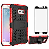 Phone Case for Samsung Galaxy S7 Edge with Tempered Glass Screen Protector Cover and Stand Kickstand Hard Rugged Cell Accessories Glaxay S7edge Gaxaly S 7 Plus GS7 Galaxies 7s 7edge Cases Black Red