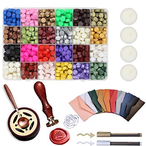 Quanerba 619 Pezzi Cera per Sigilli Kit, Kit Timbro Sigillo Di Cera, 24 Colori Cera Perline Ceralacca Set, per Invito di Compleanno Festa di Nozze, Confezione Regalo