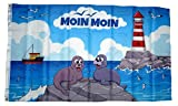 Fahne/Flagge Moin Moin Seehunde Leuchtturm 90 x 150 cm