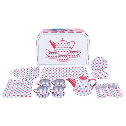 Bigjigs TEESERVICE WEIß Keramik Kinder Kaffeeservice Spielküche Kinderküche Picknickkorb