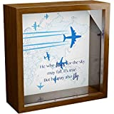 Gifts for Pilots | 6x6x2 Wooden Shadow Box for Aviator | Unique Present for Aviation & Aircraft Pilot | Helicopter & Airplane Themed Presents | Air Travel Enthusiasts Gift for Men & Women
