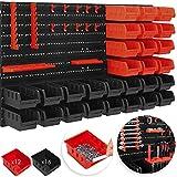 MASKO Wandregal + Stapelboxen + Werkzeughalter | 45 tlg Box | Erweiterbar | Werkstattregal...