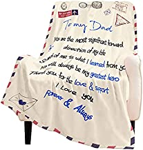 WISH TREE Letters to My Dad, Birthday Gifts for Dad from Daughter or Son- Personalized Printed Air Mail Quilts Blanket, 50x60 Inch Super Soft Blankets and Throws for Dad & Grandpa