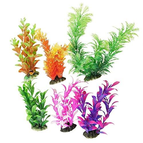 CNZ 6 peças, decoração de plantas de aquário de cores sortidas com base de cerâmica