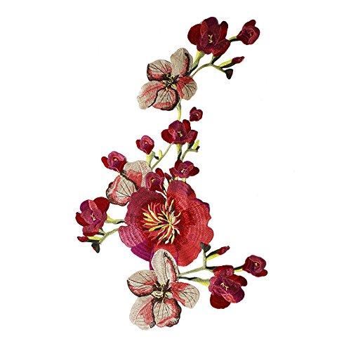 Aplique con forma de flor, tamaño grande, para coser, ideal para decorar prendas de ropa o para hacer manualidades rosa
