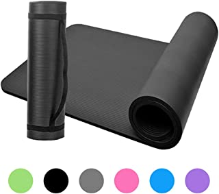 Festnight 10mm Thick Yoga Mat Non-Slip Exercise Mat Pad with Carrying Strap and Mesh Bag for Home Gym Fitness Workout Pilates