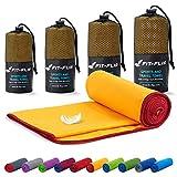 Fit-Flip Mikrofaser Handtuch Set – 18 Farben, viele Größen – Ultra leicht & kompakt – das perfekte Sporthandtuch, Strandhandtuch und Reisehandtuch (100x200cm, Gelb - Weinrot)