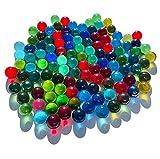 Fairy Tail & Glitzer Fee - 100 canicas de cristal, multicolor, azul claro, azul oscuro, brillantes, 16 mm, para jugar, rellenar floreros, cuencos decorativos