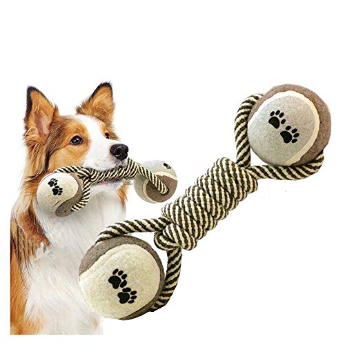 CUIZC Kauspielzeug Hund Baumwollseil Tennis Hantel Hundespielzeug Backenzahn Hundeknoten Spielzeugball