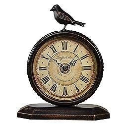 SHISEDECO Vintage Cottage Metal Table Clock with Bird, Retro Mantel/European Wrought Iron Metal Industrial Quartz Desk & Shelf Clock (F)