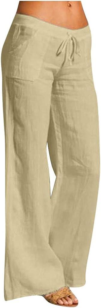MYDANRAN Womens Linen Pants Elastic Waist Bandage Casual Wide Leg Pants Solid Color Cotton Flared Trousers