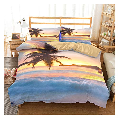 Ocean Duvet Cover Set Queen Size, Tropical Island with The Palm Trees and Sea Beach Nature Theme Print, A Decorative 3 Piece Bedding Set with 2 Pillow Shams, Turquoise Blue