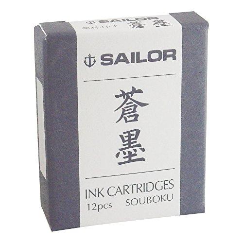 Sailor Sou-Boku - Cartuchos de tinta para documentos, color azul oscuro y negro