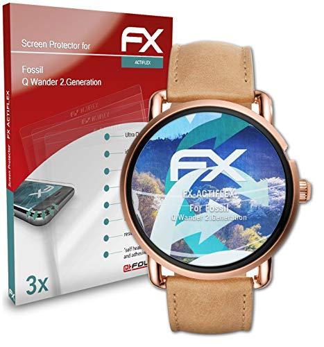 atFoliX Schutzfolie kompatibel mit Fossil Q Wander 2.Generation Folie, ultraklare & Flexible FX Bildschirmschutzfolie (3X)
