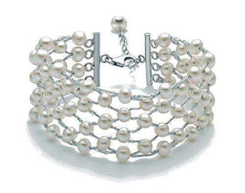 Miluna Bracciale in Perle 5 Fili con Intreccio