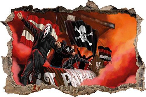 Ultras St. Pauli mit Totenkopf Flagge, 3D Wandsticker Format: 92x62cm, Wanddekoration