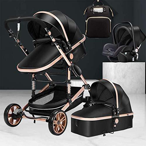 Cochecito de bebé Cochecito de bebé recién nacido plegable, Cochecito de paseo compacto, Cochecito de bebé con amortiguación de golpes con cesta de dormir ancha, portavasos y cesta de compra