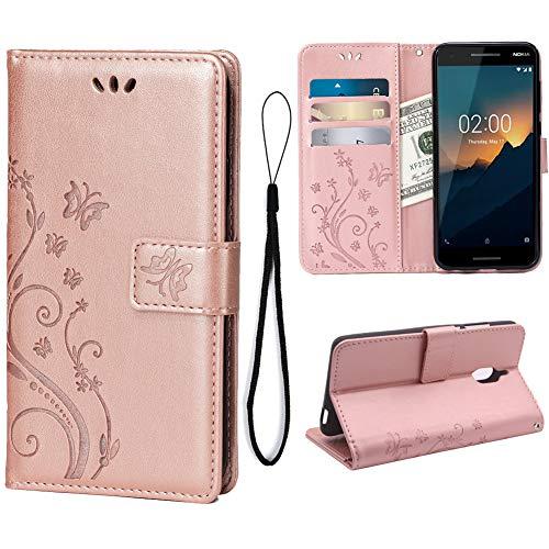 Teebo Custodia Cover per Nokia 2.1(5.5inch), Custodia a Portafoglio in Pelle PU Premium con Porta ID e Porta Carte di Credito con Supporto Chiusura Magnetica,Oro Rosa