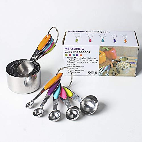 petit un compact Un ensemble de 10 tasses à mesurer en acier inoxydable, 5 tasses à mesurer et 5 cuillères à mesurer…