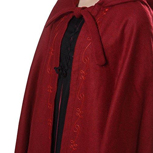 Mittelalter Umhang Damen mit Kapuze und Stickerei Wolle rot - 3