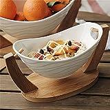 okuya Cuencos de postre Cradle Ensalada Bowl Fruit Postre Bocadillo Tazón con soporte de madera de bambú Cerámica creativa Vajilla Blanco (Tamaño: Grande) Ensaladeras (Size : Large)